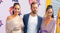 Nikki and Brie Bella and Artem Chigvintsev at the Teen Choice Awards