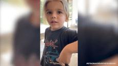 Reign Disick telling his mom, Kourtney Kardashian, a knock-knock joke