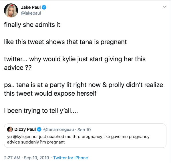 Jake Paul Tweet About Tana Mongeau Saying She's Pregnant