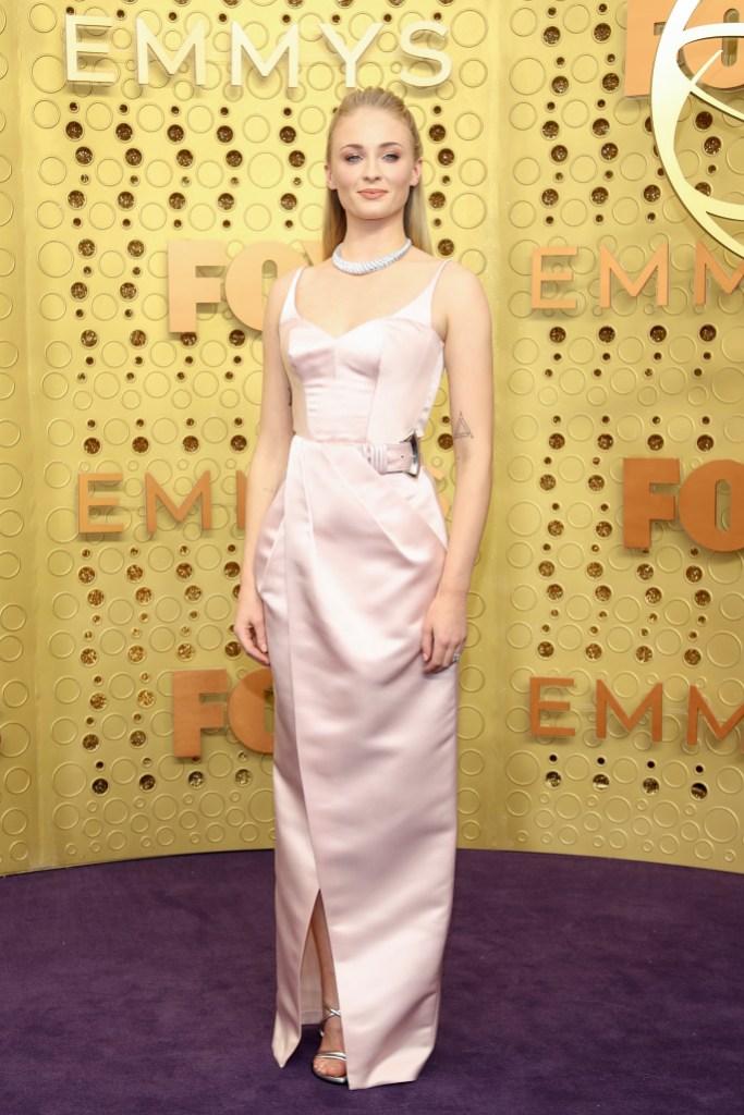 Sophie Turner Wearing a Light Pink Dress at the Emmys