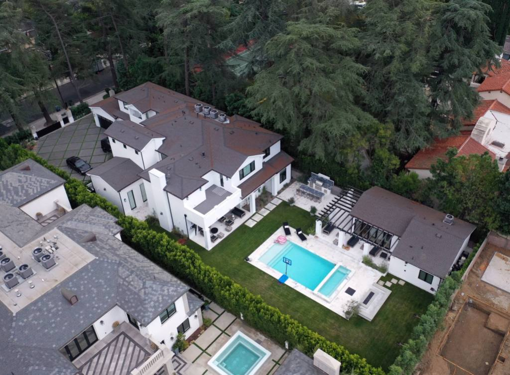 Tristan Thompson's house from an aerial view