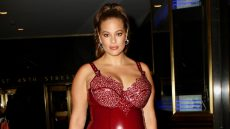 Pregnant Ashley Graham in a Leather Dress