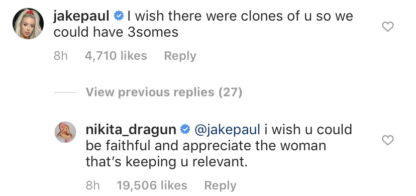 Nikita Dragun and Tana Mongeau Comments