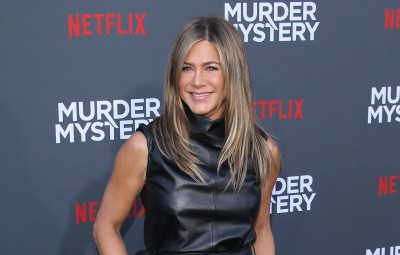 Jennifer Aniston Smiling at Murder Mystery Premiere Beauty Tips and Go To Products