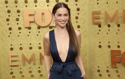 Emilia Clarke Valentino Blue Gown Red Carpet Photo at 71st Annual Primetime Emmy Awards, Arrivals, Microsoft Theatre, Los Angeles, USA - 22 Sep 2019