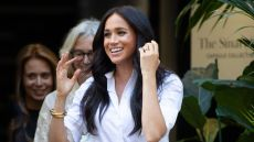 Meghan Markle White Button Down and Black Pants Finding Work Life Balance