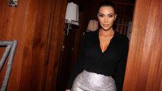Kim Kardashian Silver Versace Skirt at KKW x Winnie Harlow Launch Party in NYC