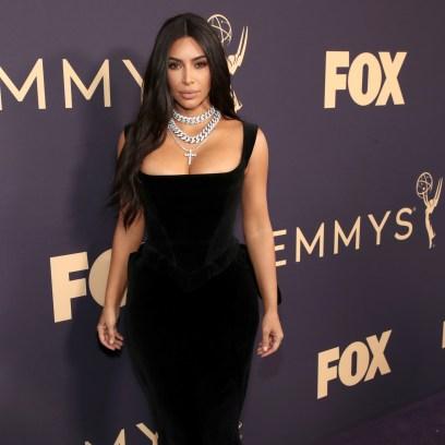 Kim Kardashian Vivienne Westwood Black Velvet Gown at 2019 Emmys Outfit Chage