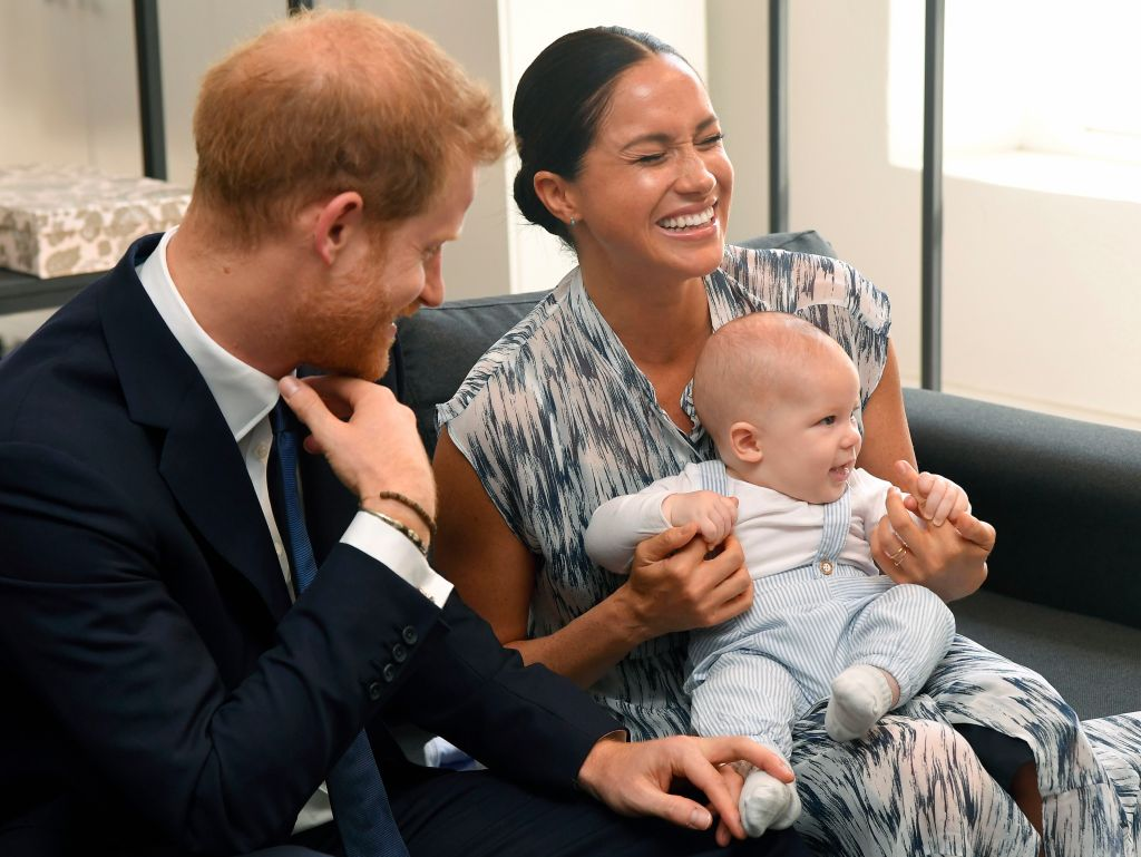 Meghan markle laughs With Prince Harry and Baby Archie While Meeting Desmond Tutu