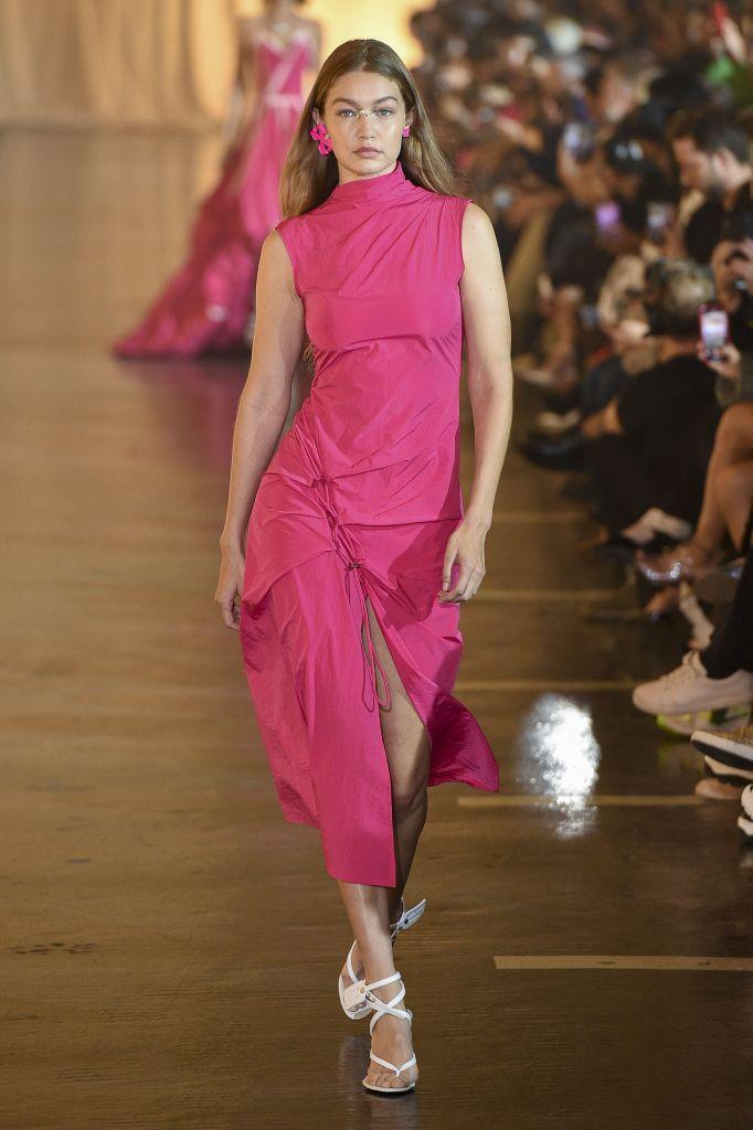 Gigi Hadid Walking the Runway in Pink Dress