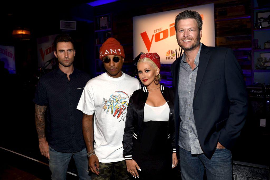 Adam Levine, Pharrell Williams, Christina Aguilera and Blake Shelton on The Voice