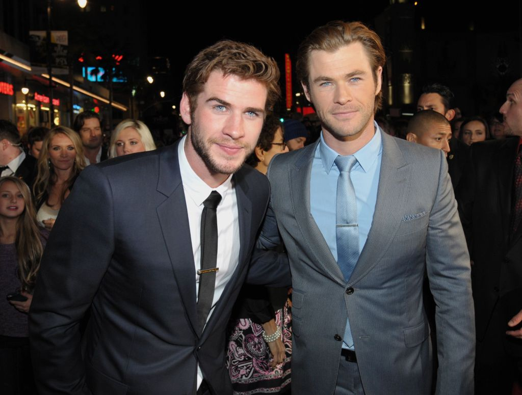 Liam Hemsworth and Chris Hemsworth Smile Together in Suits