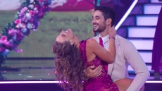 HANNAH BROWN, ALAN BERSTEN Dancing With the Stars Week 3 Rumba to Hold On by Wilson Philips Pink Dress and Tan Suit