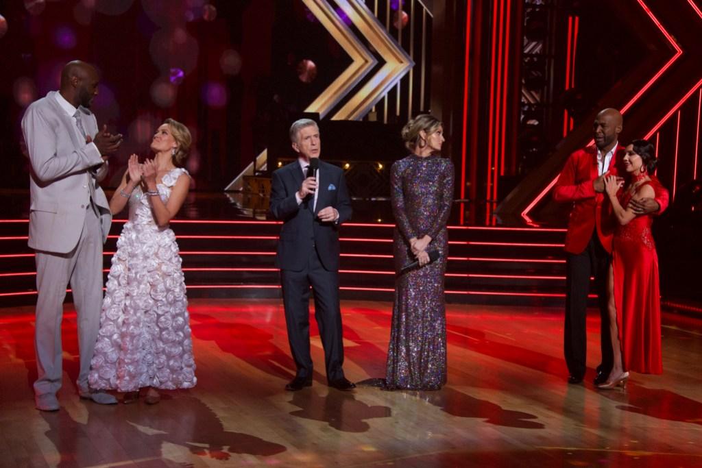 LAMAR ODOM, PETA MURGATROYD, TOM BERGERON, ERIN ANDREWS, KARAMO, JENNA JOHNSON Week 4 Dancing With the Stars Elimination