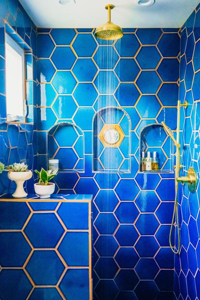 Blue Bathroom the jungalow designer Justina Blakeney
