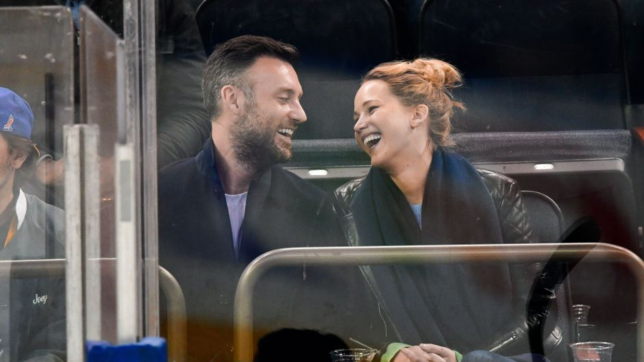 Cooke Maroney and Jennifer Lawrence at a New York Rangers Game