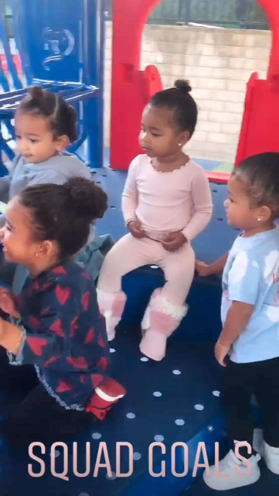 Dream Kardashian, Chicago West, Stormi Webster and True Thompson playing at the park