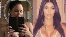 A split image of Katharine McPhee and Kim Kardashian
