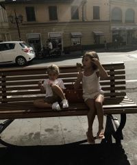 Kourtney Kardashian in Italy with Reign and Penelope Disick