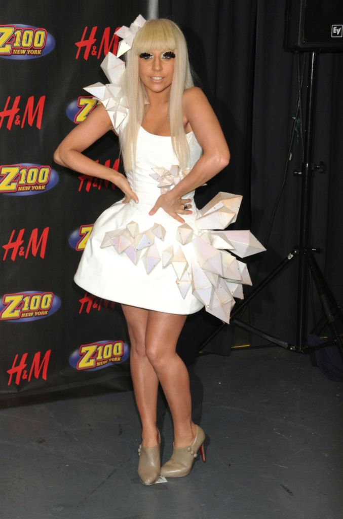 Lady Gaga in a white dress at Z100's Jingle Ball in 2008