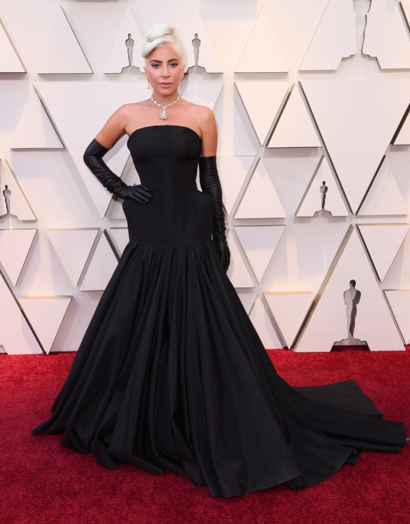 Lady Gaga wearing a black Alexander McQueen gown at the 91st Academy Awards
