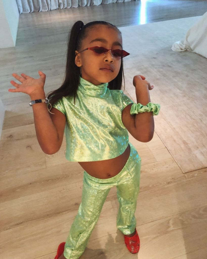North West Wearing a Glittery Green Matching Set, Kristen Noel Crawley Gushes Over North West's Style