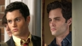 A split image of Penn Badgley in 2007 and 2019