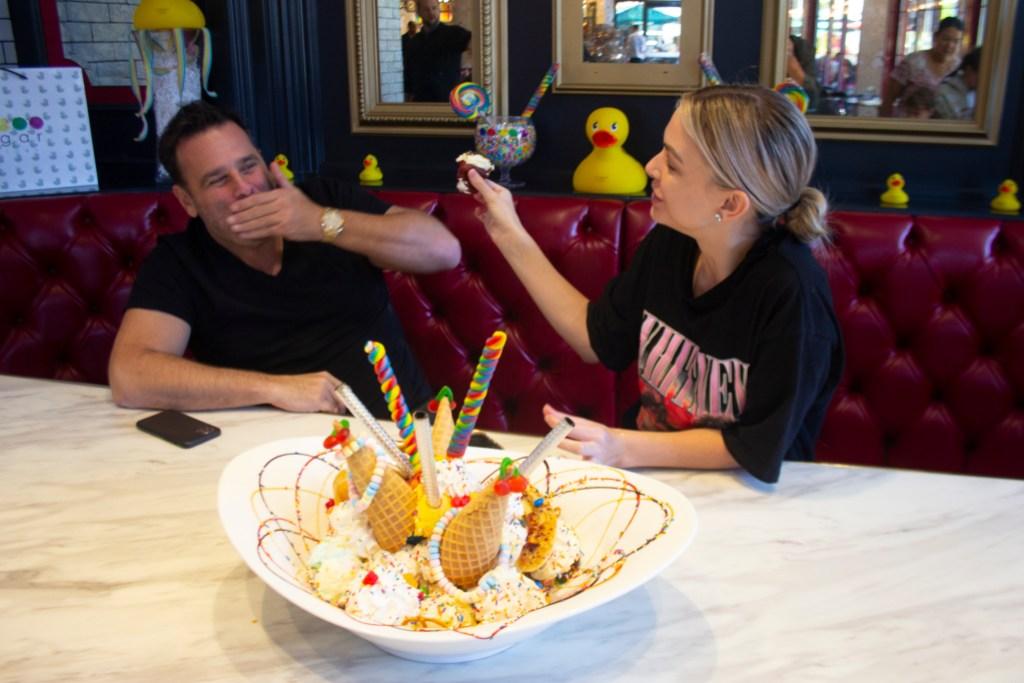 Lala Kent and fiance Randall Emmett enjoying deserts at The Sugar Factory in Las Vegas