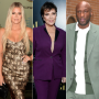 khloe kardashian wears a black and gold dress, kris jenner wears a purple suit, lamar odom wears a sage green suit khloe believes kris jenner set up lamar odom run in in 2015
