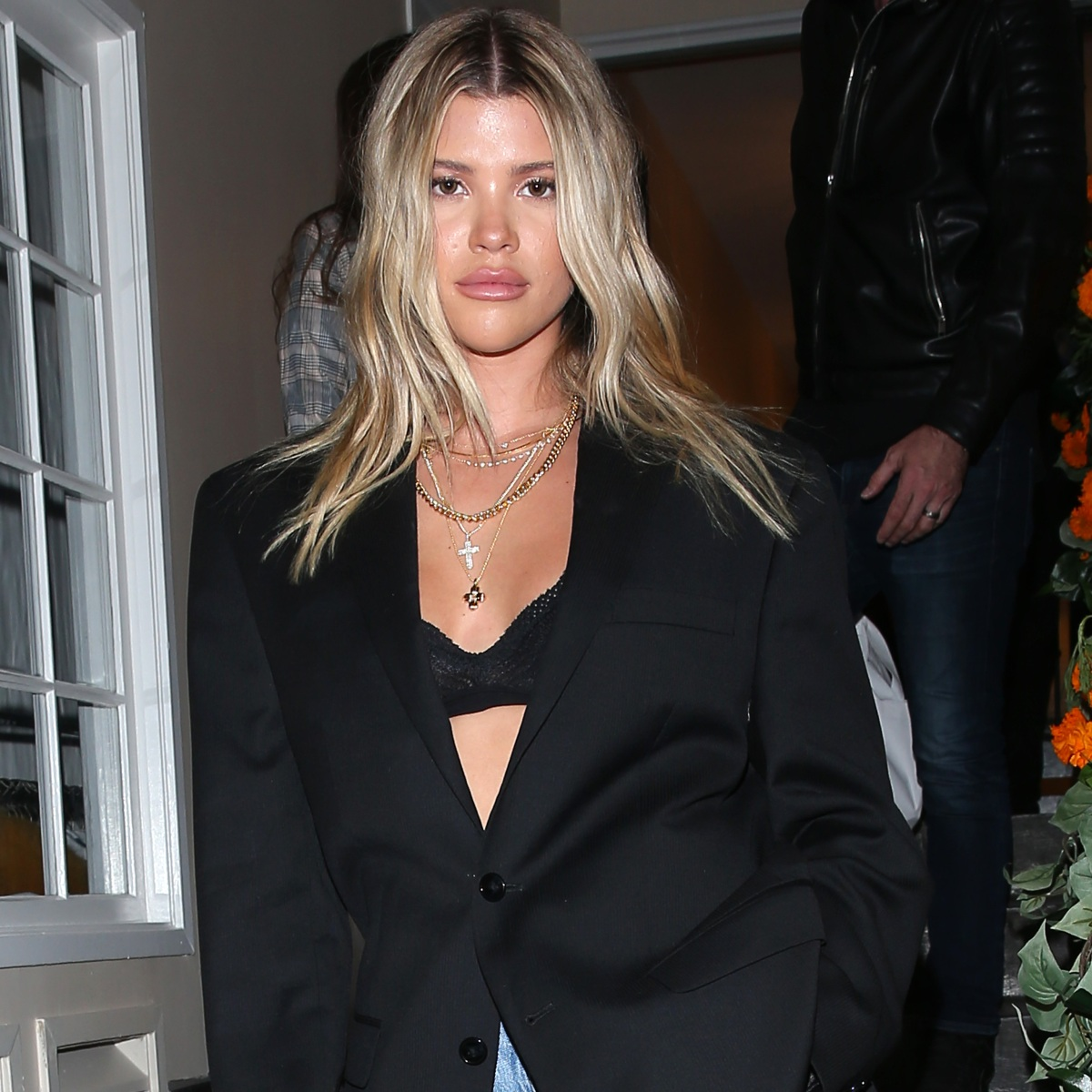Sofia Richie Looks Like a Total #BossBabe in a Black Blazer, Lacy Bra and Trendy Jeans