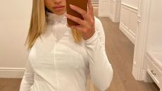 Sofia Richie Poses for a Mirror Selfie in a Tight White Shirt and Black Pants, Sofia Richie Debuts Her New Wrist Tattoo