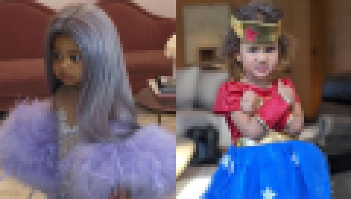 Celebrity Kids Halloween Costumes 2019, Stormi Webster and Luna Stephens Split Image