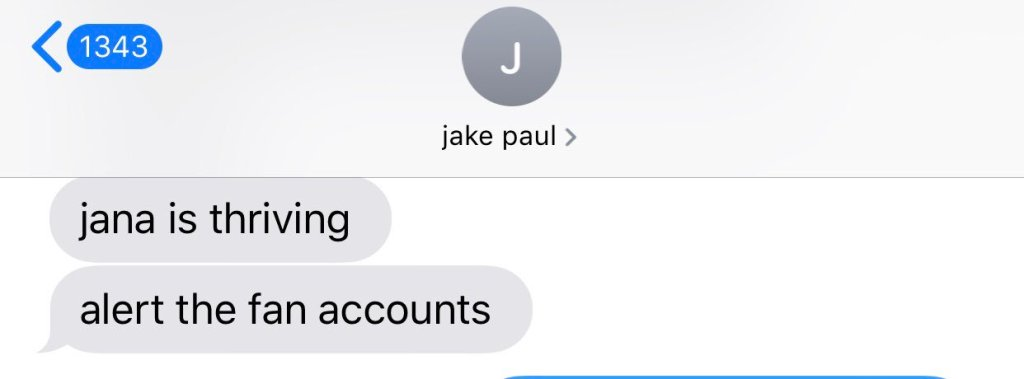 A text message from Jake Paul