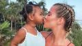 True Thompson Kissing Her Mom Khloe Kardashian