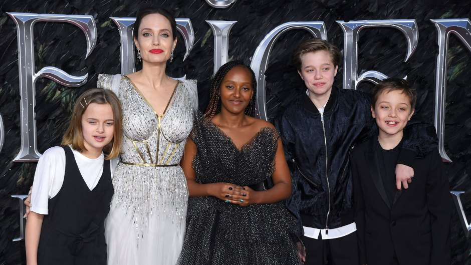 Vivienne Jolie-Pitt, Angelina Jolie, Zahara Jolie-Pitt, Shiloh Jolie-Pitt and Knox Leon Jolie-Pitt Maleficent Mistress of Evil Film Premiere Red Carpet Children