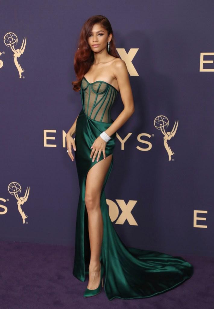 Zendaya, green gown, The Emmy Awards