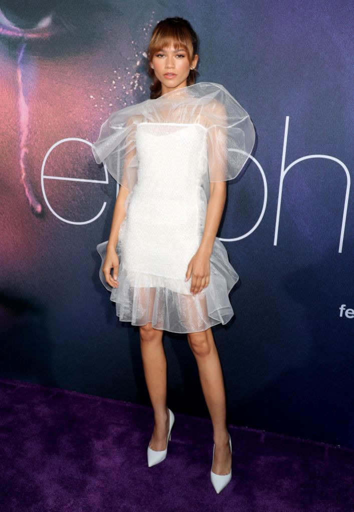 Zendaya, white dress, Euphoria premiere