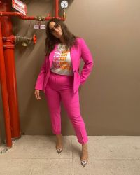 Ashley Graham Best Style Moments Pink Suit