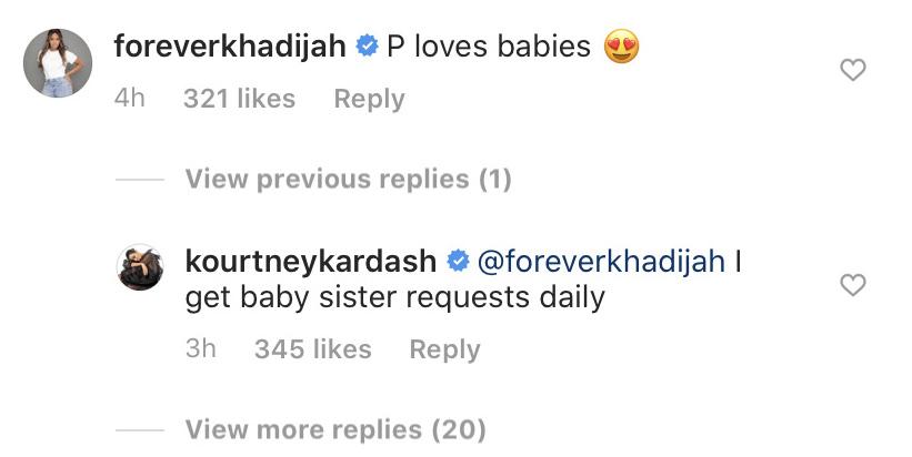 Kourtney Kardashian and Khadijah Haqq Instagram Comment