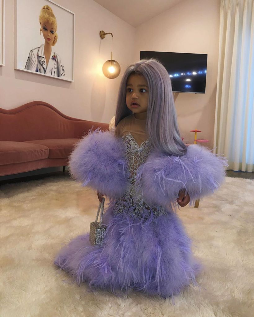 Stormi Webster Wearing Kylie Jenner Purple Versace Met Gala Dress