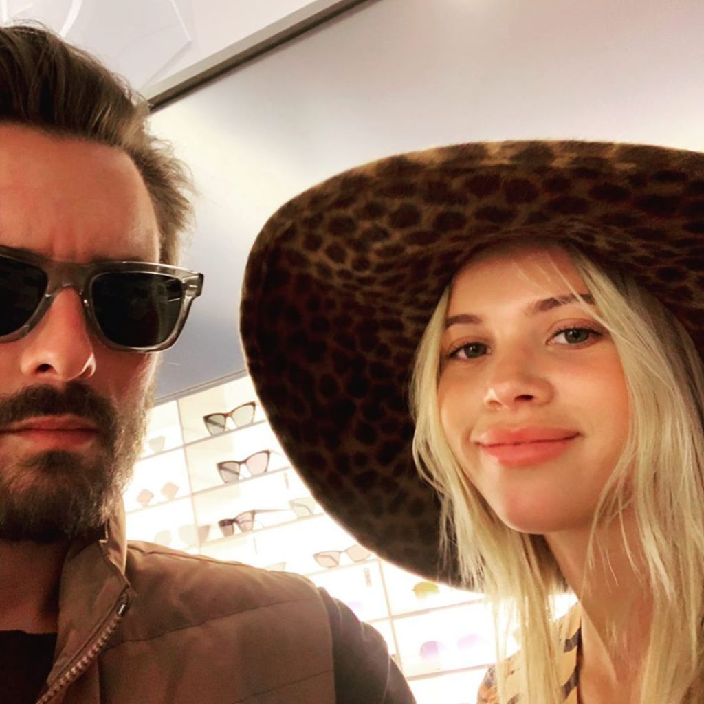 Scott Disick Wearing Sunglasses Poses With Sofia Richie in Cheetah Print Hat