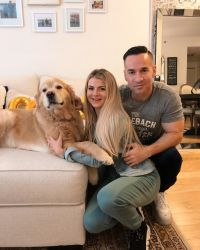 Mike Sorrentino With Lauren Sorrentino And their Dog
