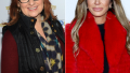 rhonj alum caroline manzo wears a wine red long sleeve top with black vest and a printed scarf, rhonj star teresa giudice wears a black top with red fuzzy jacket caroline manzo reacts to teresa giudice's tell all interview