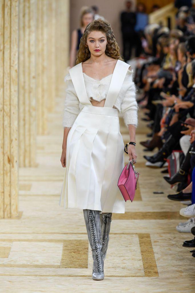 Gigi Hadid White Dress Paris Fashion Week Miu Miu