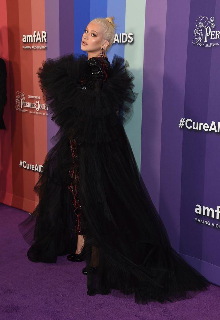 Christina Aguilera Black Jumpsuit Ball Gown 2019 amfAR Gala , Los Angeles, USA - 11 Oct 2019