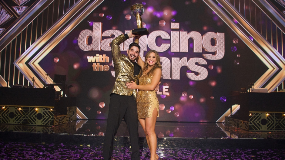Hannah Brown Gold Cocktail Dress DWTS Finale Win