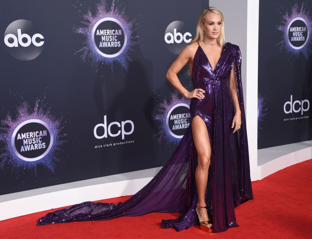 Carrie Underwood Wearing a Shiny Purple Dress at the AMAs