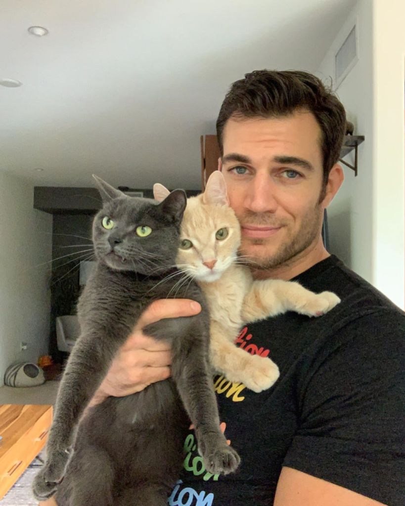 Dr. Evan Antin Posing With Some Cats