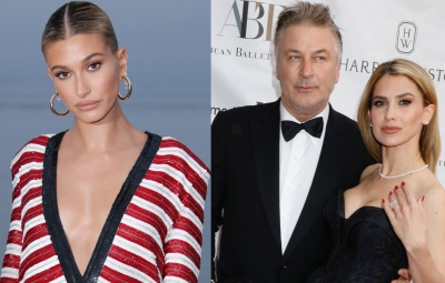 A Split Image of Hailey Baldwin and Alec and Hilaria Baldwin