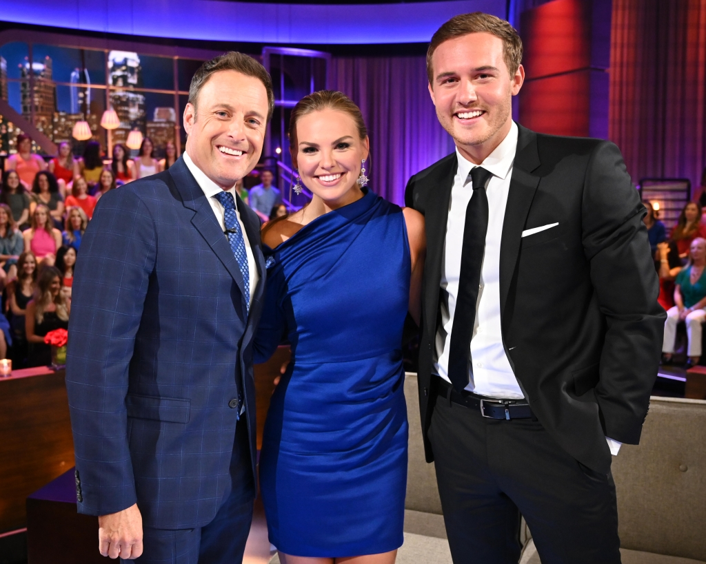 Chris Harrison With Peter Weber and Hannah Brown on Stage